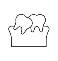 Tilted teeth simple outline icon dental care set vector