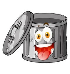 Trashcan with smiling face vector