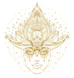 tribal fusion boho diva in gold beautiful asian vector image