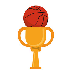 trophy ball basketball winner vector image