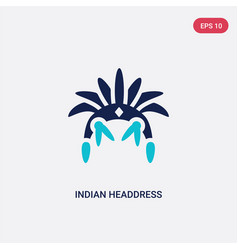 two color indian headdress icon from culture vector image