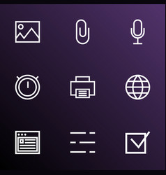 user icons line style set with check second meter vector image