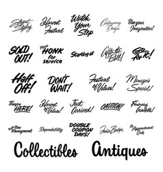 various advertising sign and lettering promotion vector image