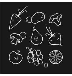 Vegetables and fruits Part 1 White outlines vector image