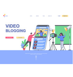 Video blogging flat landing page template vector