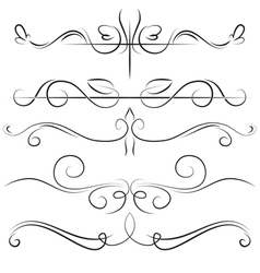 Vintage set and border with swirls vector