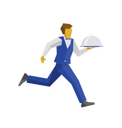 waiter running with tray vector image