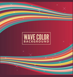wave color background with retro color vector image