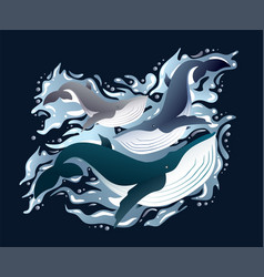 Whales family sleek set vector