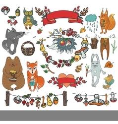 wild animals decor vector image