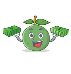 With money guava mascot cartoon style vector
