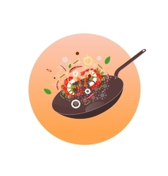 Wok asian frying pan concept vector
