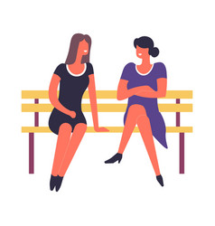 Women sitting on bench talking and discussing vector