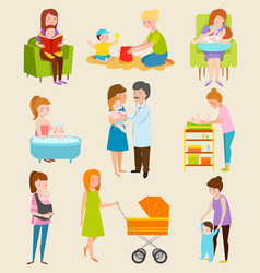 Young mother characters diferent pose vector