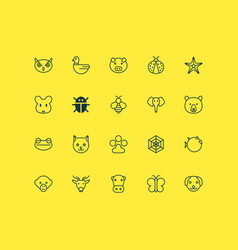 Zoology icons set with toad grizzly puppy and vector