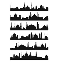arabic architecture silhouette of mosque roof vector image