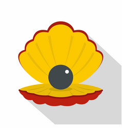 Black pearl in a sea shell icon flat style vector
