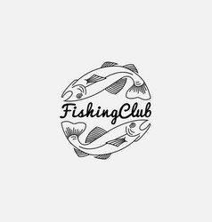 fish logo in outline style vector image