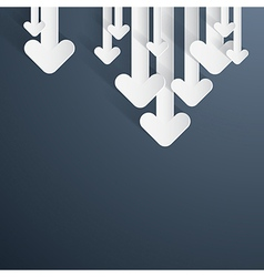 Paper Arrows on Dark Blue Grey Background vector image vector image