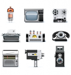 vintage technologies icon set vector image vector image