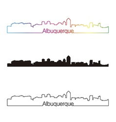 Albuquerque skyline linear style with rainbow vector image vector image