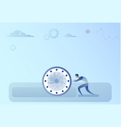business man pushing clock time management vector image