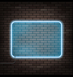 neon frame on the brick wall vector image