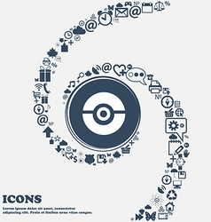 pokeball icon in the center Around the many vector image vector image