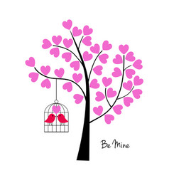 valentines day birds with tree and birdcage vector image vector image