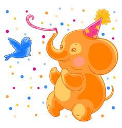 Festive joyful cute elephant and the bird are vector