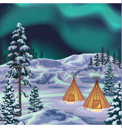 night northern landscape with aurora borealis vector image