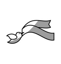 dove ribbon decorative symbol image vector image