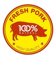 Fresh pork label vector image