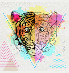 hipster animal realistic and polygonal tiger on vector image vector image