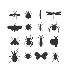 Insect icon black silhouette flat set isolated on vector image