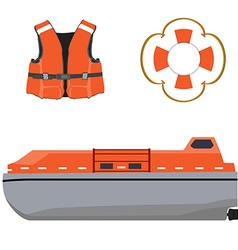 Life boat jacket and buoy vector image vector image