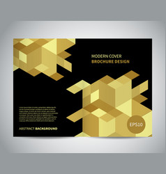 modern brochure design with isometric gold pattern vector image