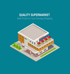 supermarket exterior online shop credit cart vector image