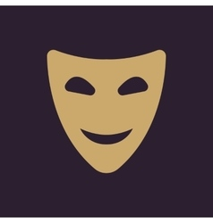The smiling mask icon Comedy and theater symbol vector image