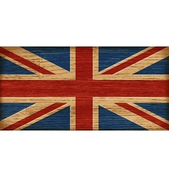 UK flag on old wooden texture vector image vector image