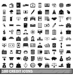 100 credit icons set simple style vector