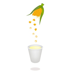A process of corn juice from fresh sweet corns vector