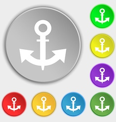 Anchor Icon sign Symbol on eight flat buttons vector