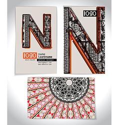 Ancient Business card design LETTER N vector image