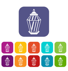 Arabic lantern icons set vector
