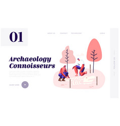 Archeologists paleontology scientists working vector