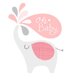 Baby shower elephant in pink and gray oh vector