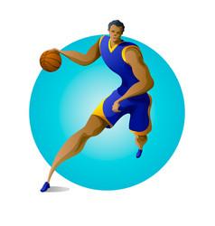 basketball player dribbling on fast break vector image