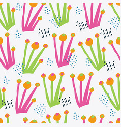 Botanical color hand drawn seamless pattern vector