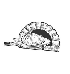 Bread and oven sketch vector